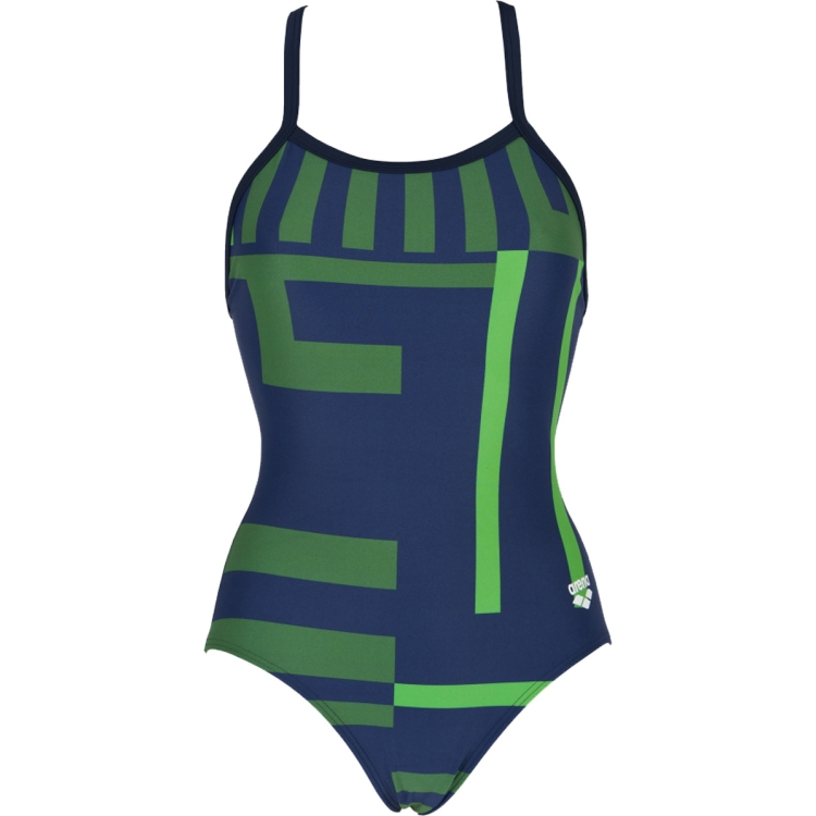 ARENA Women's Electron Smooth Back One Piece Swimsuit (Navy/Green)