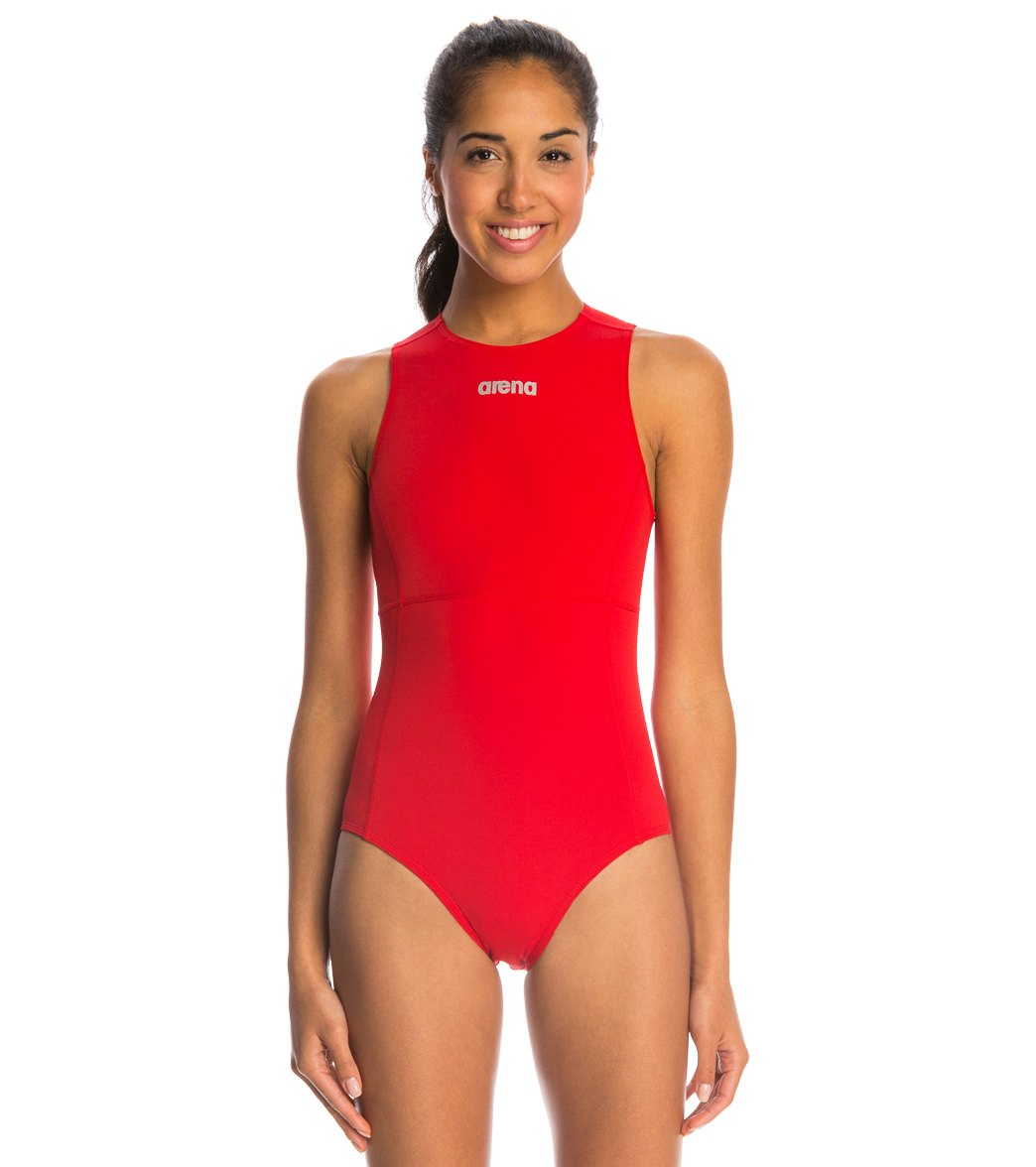 21177569c3 ARENA Girl's Mission Water Polo One Piece Swimsuit - Youth (Red/Metallic  Silver (