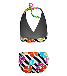 SPEEDO Girls Summer Floral Stripe All Over Halter 2-Piece (Multi (082))