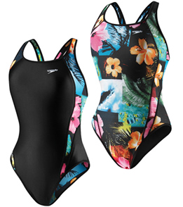 SPEEDO Female Flipturns Floral Excursion Reversible Drop Back (26-36 Only)