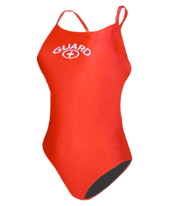 Lifeguard Swim Suits - Thin Strap Guard Logo (Red)