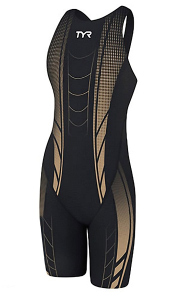 TYR Women's AP12 Credere Compression Open Back Swimsuit (Black/Gold (008))