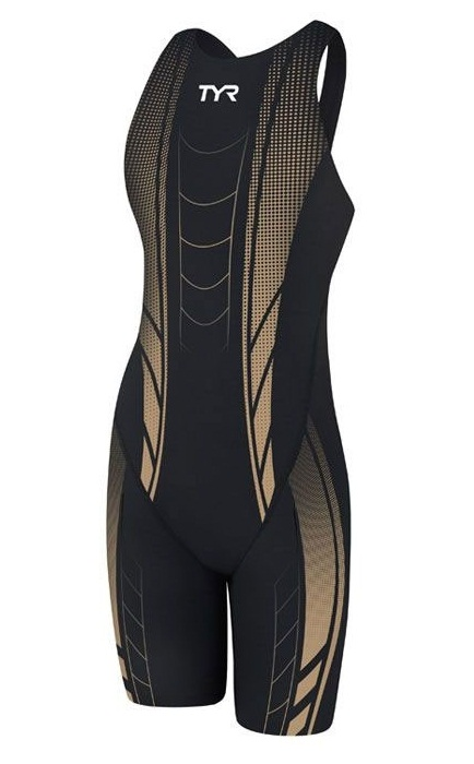 TYR Women's AP12 Credere Compression Closed Back Swimsuit (Black/Gold (008))