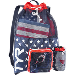 TYR Big Mesh Mummy Backpack (Red/Navy (642))